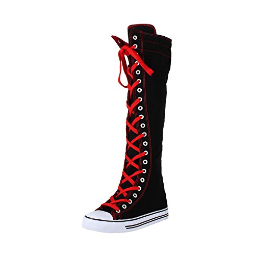 West Blvd Womens SNEAKER Boots Knee High - Red Lace Up Boots Shopping Results