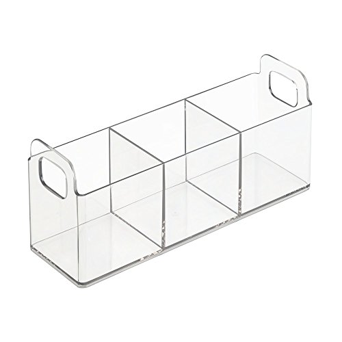 InterDesign Clarity Cosmetic Organizer Tote for Vanity or Medicine Cabinet – Perfect Storage for Makeup or Cosmetics -  Medium, Clear