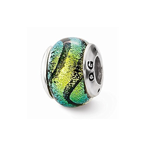 Sterling Silver Reflections Green Dichroic Glass Bead by Nina's Jewelry Box (Image #2)