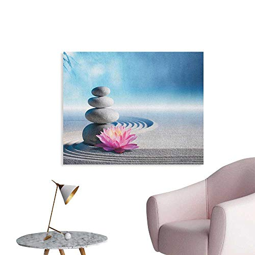 (Anzhutwelve Spa Photographic Wallpaper Stones and Lotus Flower Over Sand Meditation Harmony Balance Flourish Your Spirit Art Poster Grey Blue Pink W32 xL24)