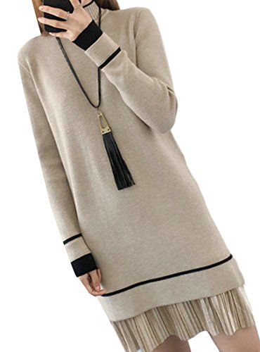 M&S&W Women Cowl Neck Knit Stretchable Elasticity Long Sleeve Slim Fit Sweaters Dresses Khaki OS ()