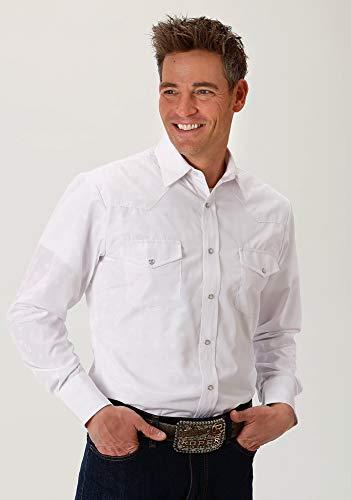 - ROPER 80/20 Mens White Cotton Blend Horseshoes L/S Shirt XL
