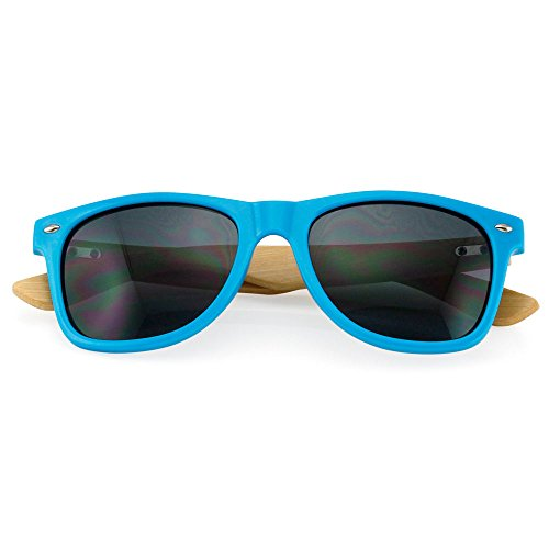 Bamboo Lightweight Sunglasses Wooden Wood Mens Womens Retro Vintage Summer Glasses Vintage, Square Style Sunglasses, Wooden Frame Material, Mirrored Lens (Blue Frame/Black - Voucher Code With Sunglasses