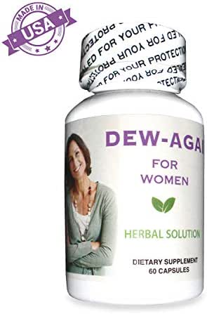 Dew-Again Vaginal Dryness Supplement - 100% Natural Herbal Blend, Moisturizes and Increases Vaginal Lubrication, High Potency, No Hormones, No Side Effects, 60 Capsules