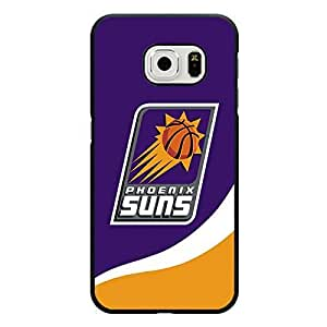 Samsung Galaxy S6 Edge Case Black and Pink NBA Phoenix Suns Basketball Team Logo Sports Design Hard Custom New Protective Rugged Protection Accessories Case Cover for Men