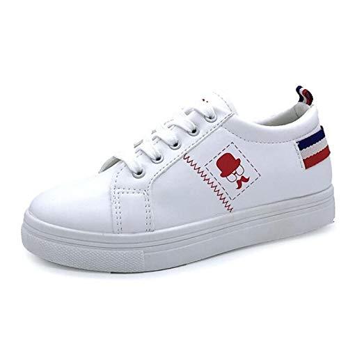 ZHZNVX Zapatos de Mujer PU (Poliuretano) Summer Comfort Sneakers Flat Heel Round Toe Red/Blue Red