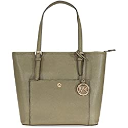 A Michael Kors Jet Set Travel Medium Saffiano Leather Tote - Olive
