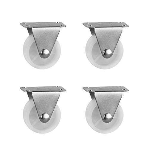 4 Pieces 2.5 Inch Fixed Caster Wheels PP Plastic Rigid Non-Swivel Single Wheel Metal Fixed Plate Chair Trolley Rolling Casters ()