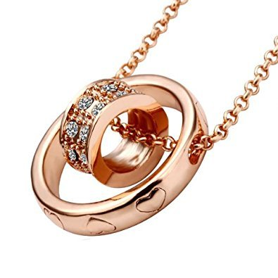 (Lekani Rose Gold Color Dual Ring Rhinestone Crystal Necklace)
