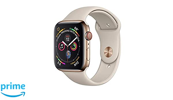 huge discount 9beec 3bddc Apple Watch Series 4 44MM Gold Stainless Steel (GPS + Cellular) Stone Sport  Band (Renewed)