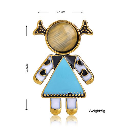 MECHOSEN New Little Girl Shape Brooches Sky Blue Enamel Brooch Pins For Women Girl Party Accessories by MECHOSEN (Image #1)