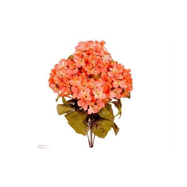 JenlyFavors 22 Inch X-Large Satin Artificial Hydrangea Silk Flower Bush 7 Heads (Coral)