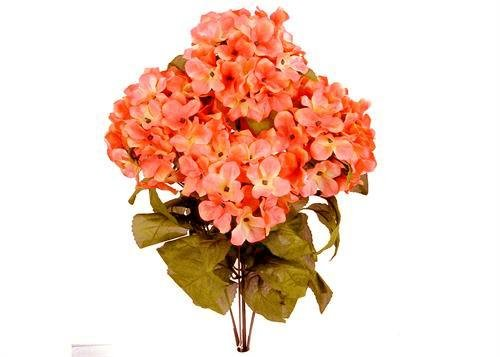JenlyFavors 22 Inch X-Large Satin Artificial Hydrangea Silk Flower Bush 7 Heads (Coral)