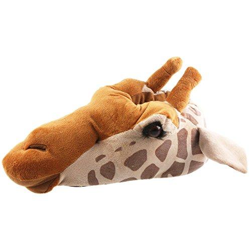 Tierhausschuhe Giraffe Tier Hausschuhe Pantoffel Puschen SchlappenKuscheltier PlüschUnisex Braun 35-48, TH-Gira Beige