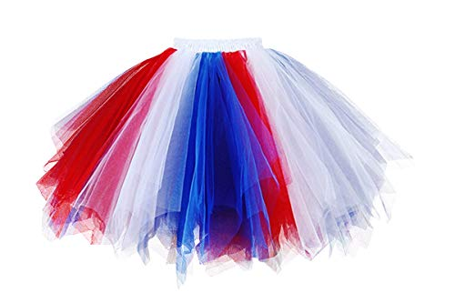 Musever 1950s Vintage Ballet Bubble Skirt Tulle Petticoat Puffy Tutu Red/White/Blue Small/Medium
