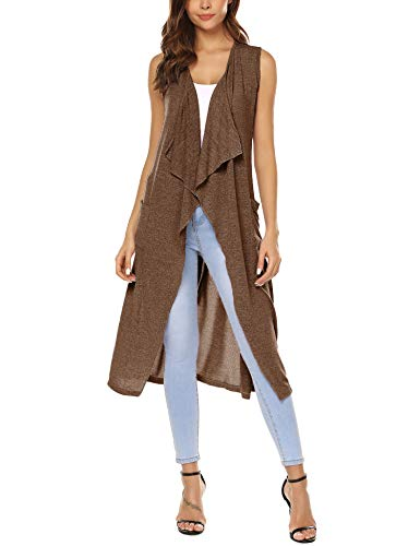 Long Cardigan Cotton - URRU Women's Draped Vest Knit Sleeveless Cardigan with Side Pockets Coffee XL