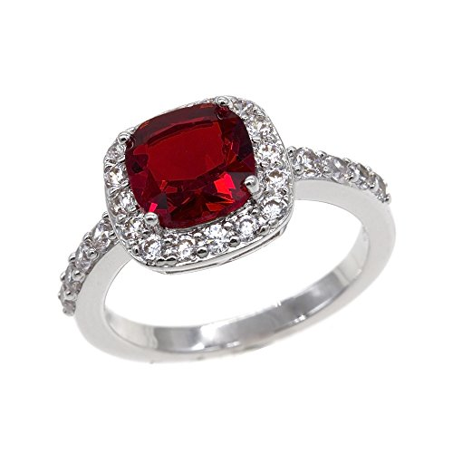 Impression Collection Square Ruby Rings Wedding Party Statement CZ Cocktails Gold Plated Classic Fashion Size 5-10 (Red, 10) (Stone Fashion Ring Red)