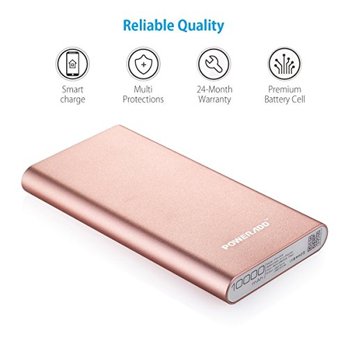 restricted EditionPoweradd 2nd Gen 34A Pilot 2GS 10000mAh mobile or portable Charger External Battery electricity Bank using swift Charging for Smartphones and Tablets increased by Gold Wall Chargers