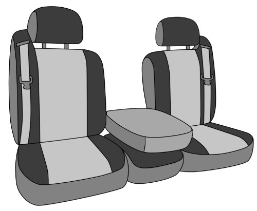 CalTrend Front Row 40/20/40 Split Bench Custom Fit Seat Cover for Select Chevrolet/GMC Models - DuraPlus (Charcoal Insert and Black Trim)