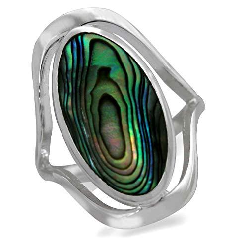 Iris Abalone (Abalone/Paua Shell 925 Sterling Silver Simple Southwest Style Ring Size 7)