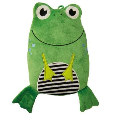 HUGO FROSCH, 0.8 L Kids Eco Hot Water Bottle with Animal Cover, Smiley Frog, Highest Quality - Made in Germany