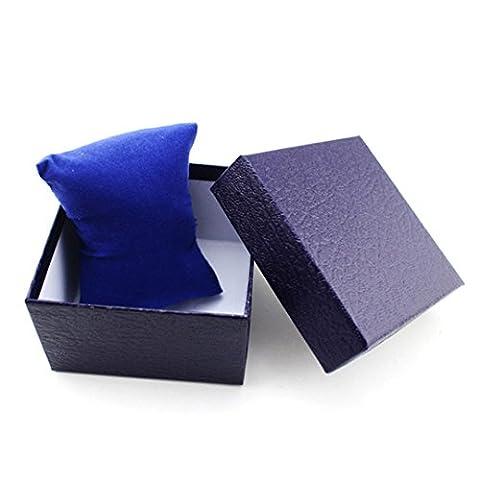 Watch Box, Koolee Elegant Lichee Grain Watch Gift Box Durable BraceletJewelry Watch Box(Blue) (G Shock G 56)