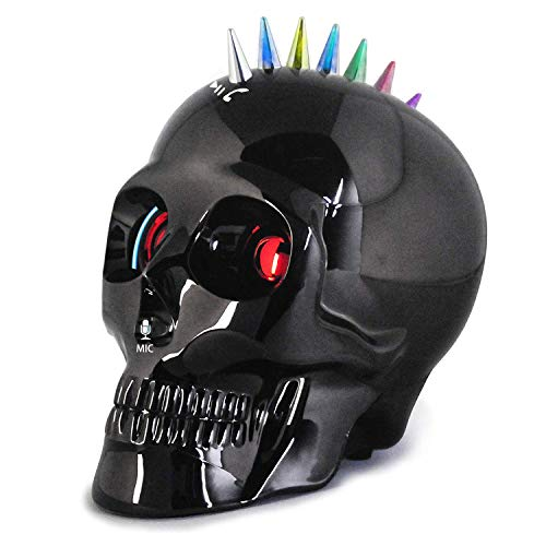 Computer Bluetooth Speaker, Wireless Skull Desktop Speakers with LED Lights Changing Function USB Rechargeable Make Phone Call for iPhone XR/Xs,iPad,Samsung Guide(Chrome Black)
