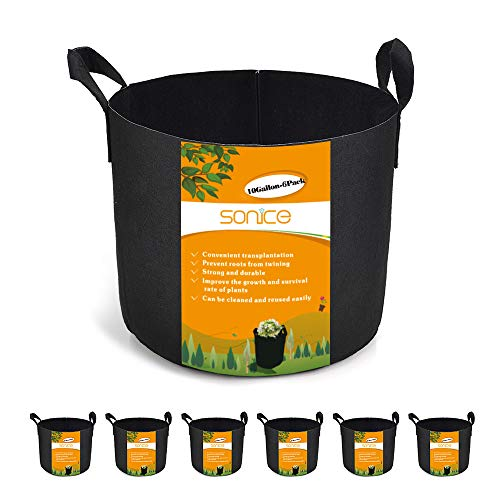 Sonice Set of 6 Pack 10 Gallons Grow Bags by, Aeration Fabric Pots With Handles (10 Gal Planter)