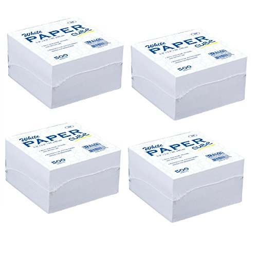 BAZIC Paper Cube, 85 x 85 mm, White (4-Pack of 500 Sheets) by Bazic