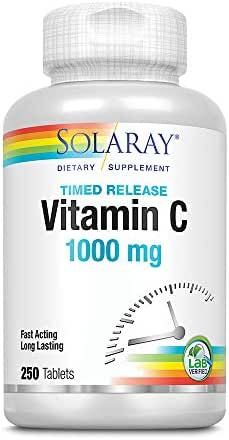 Solaray Vitamin C w/ Rose Hips & Acerola | 1000mg | Two-Stage Timed-Release Healthy Immune Function, Skin, Hair & Nails Support | Non-GMO | 250ct