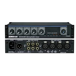 Shure SCM268 4-Channel Microphone Mixer, 6 Tr...
