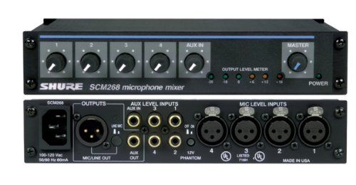 Shure SCM268 4-Channel Microphone Mixer, 6 Transformers, Pha