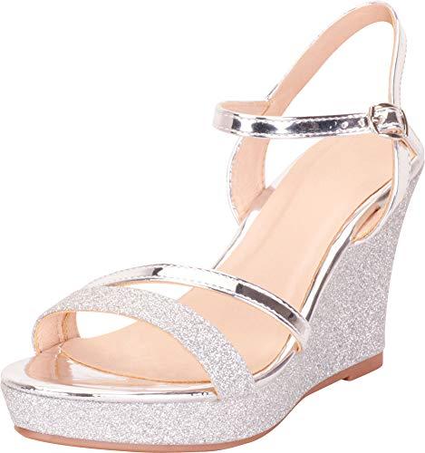 Cambridge Select Women's Strappy Glitter Chunky Platform Wedge Sandal,8.5 B(M) US,Silver