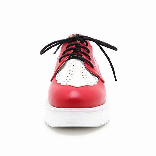 Carolbar Womens Lace-up Mode Couleurs Assorties Casual Oxfords Chaussures Rouge