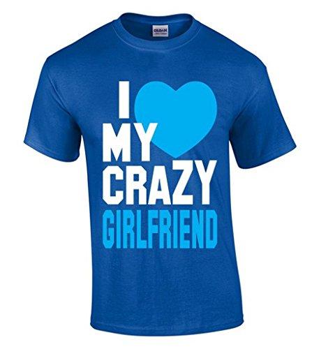 icustomworld I Love My Crazy Girlfriend T-shirt Funny Boyfriend Tee Shirts