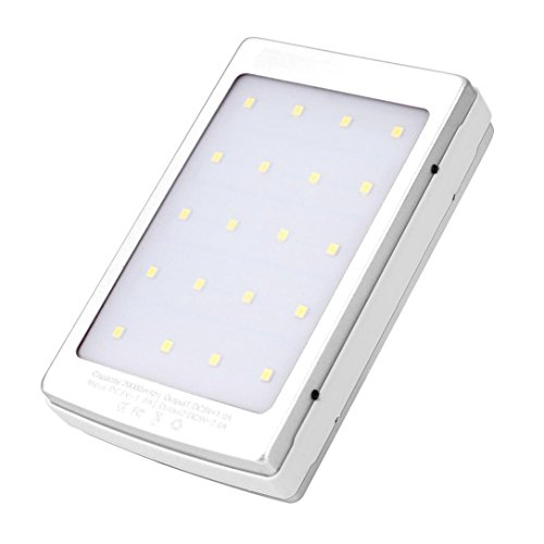 Mchoice 20000mAh LED Dual USB Portable Solar Battery Charger Power Bank for Cell Phone (White)