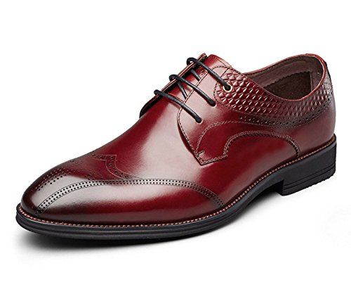 MUYII Hommes Oxfords Robe Chaussures En Cuir Pour Hommes Brogue Lace-up Plaine Toe Chaussures D'affaires Formelles Casual Mens Chaussures Confortables Red