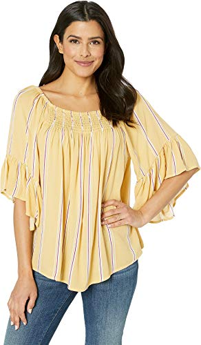 Bobeau Women's Peasant Top with Flutter Sleeve Blazing Yellow Stripe -