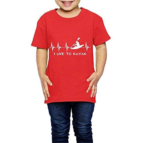 I Live to Kayak Heartbeat Crew Neck Short Sleeve Tee Shirt 2-6 Toddler ()