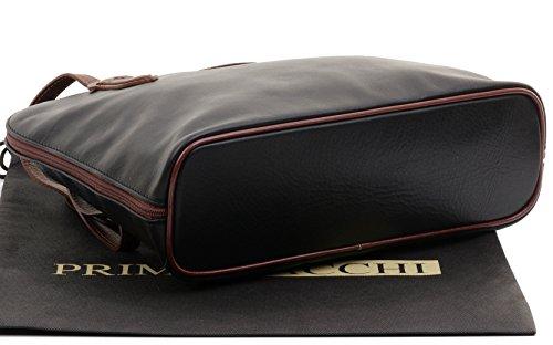 sac Noir cuir à Sacchi® de comprend manche Marron de protection main un de marque bandoulière à Primo long grand rangement amp; souple italien sac en à tatqwgC