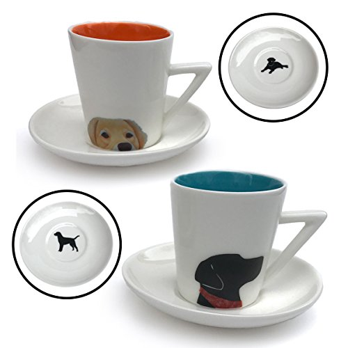 2 - Black Lab and Golden Retriever 3 oz Ceramic Cups and Matching Plates by Simply Charmed (Golden Lab Retriever)