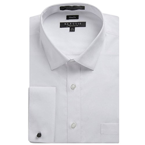 Marquis Men's Slim Fit French Cuff Spread Collar Solid Dress Shirt - White - 17 2-3