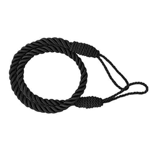 Cord Backs Tie (Pinji 4PCS Curtain Rope Tieback Window Drapery Decorative Cord Ties Tiebacks for Living Room Drapes Black)
