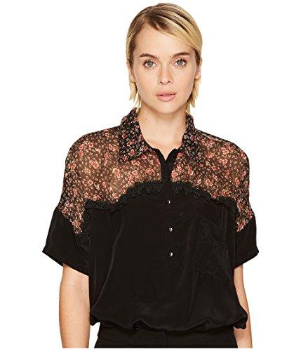 マークされたベアリング漏れ[ザ クープルス] The Kooples レディース Short Sleeved Bat-Style Polo Shirt トップス Black MD [並行輸入品]