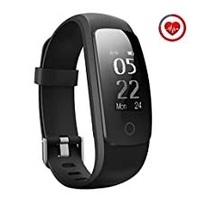 Fitness Tracker, [Upgraded Version] Mpow Heart Rate Monitor Smart Bracelet Activity Tracker,IP67 Waterproof Pedometer Wristband Bluetooth Tracker for running,walking,sleeping with 14 training modes for Android and iOS Smart Phones-Black