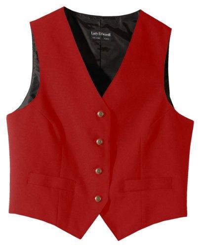 Ed Garments Women's Fully Lined V-Neck Economy Vest, RED, XX-Large (Fully Lined Lined Vest)