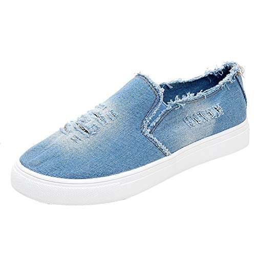 Hunzed Women Shoes Canvas Flat Round Tie with Denim Casual Women's Sneakers (Light Blue, 8 M US)