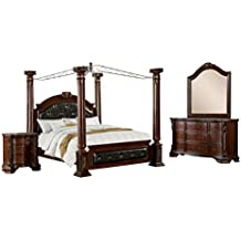 HOMES: Inside + Out IDF-7271CK-4PC 4 Piece ioHOMES Felder Canopy Bed Set, California King, Cherry
