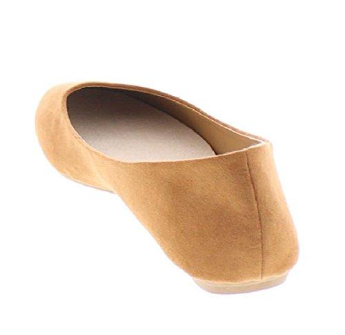 Scarpe Da Donna Con Plateau E Punta Rotonda In Pelle Scamosciata Con Balletto Slanciato, Con Conforto Ad Arco, Confetto Cognac