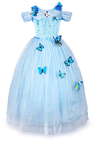 JerrisApparel New Cinderella Dress Princess Costume Butterfly Girl (8 Years, Sky Blue) ()